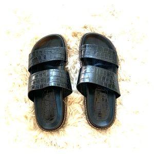 ZARA black crocodile leather sandals